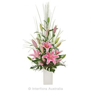 Stunning flower pot arrangement of oriental lillies