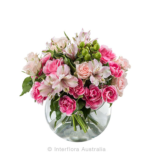 Pretty in pink round vase floral arrangement