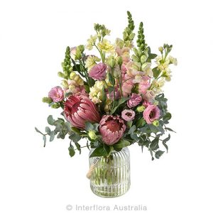 Striking floral bouquet in a glass vase