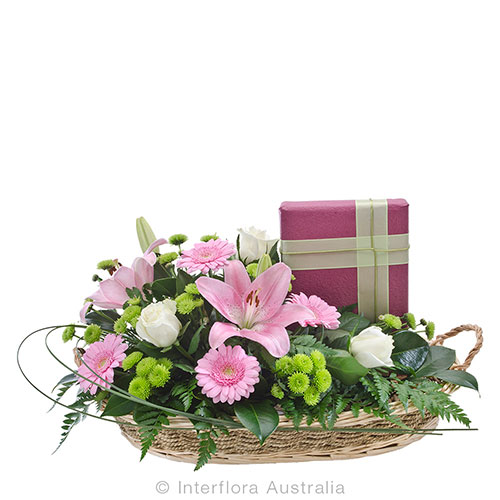 Lovely basket gift with chocolates