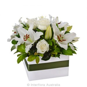 An elegant box arrangement of beautiful blooms