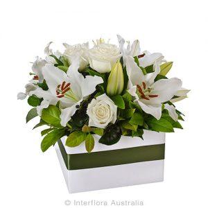 An elegant box arrangement of beautiful blooms