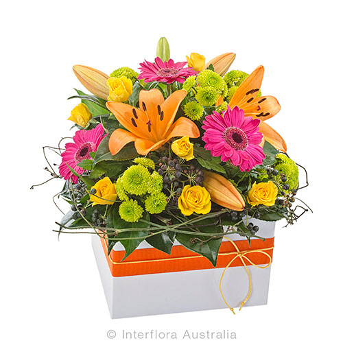 Colourful box arrangement of beautiful blooms