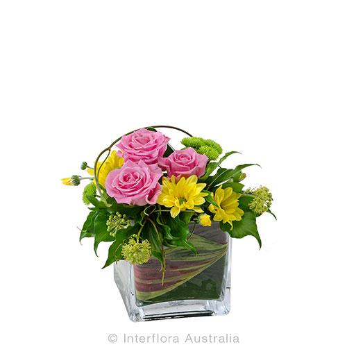 Petite square vase of flowers