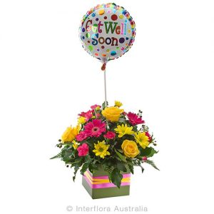 Delightful flowers in petite box with balloon