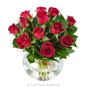 12 red roses in a glass squat vase