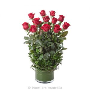 12 beautiful roses in a glass cylinda vase