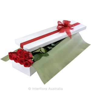 6 simple rose in a beautifully presented box.