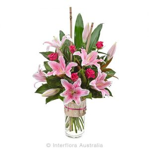 Elegant modern glass vase floral arrangement