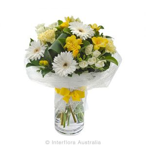 Flower bouquet in cylinda vase