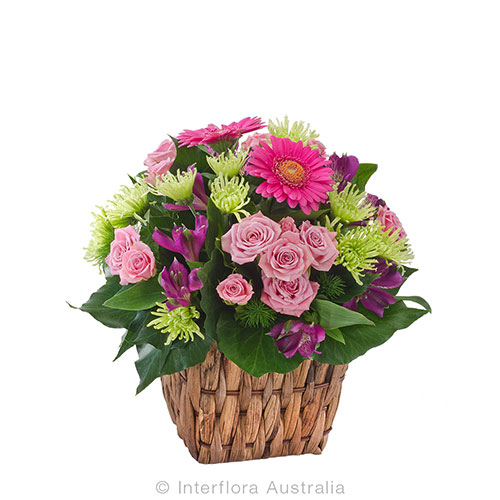 Lovely blooms nestled in a pretty basket