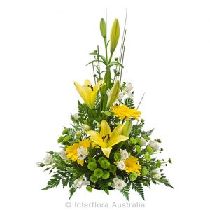Sympathy flower bowl in yellow for a loved one