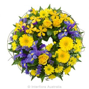 A floral wreath tribute
