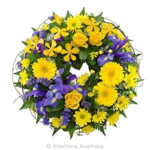 A floral wreath tribute