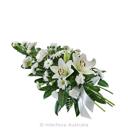 A floral tribute of lovely white flowers