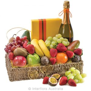 Cover all tastes with this basket of wine fresh fruit and chocolates